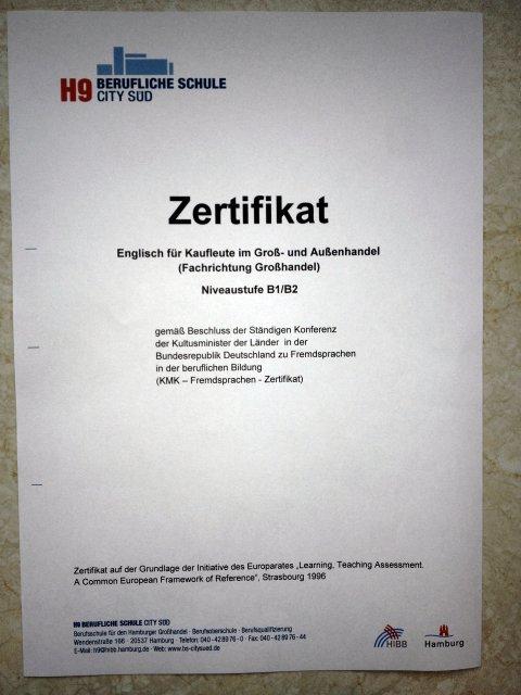 KMK Certificate English