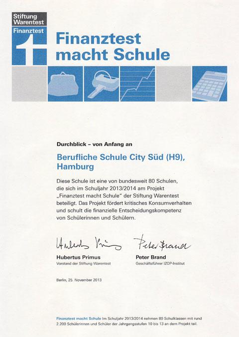 Finanztest 2013 Zertifikat