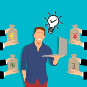 Mann mit Laptop bekommt 4 Geldsäcke gereicht. Zeichnung: freelance-2906725_640, © mohamed1982eg/Pixabay